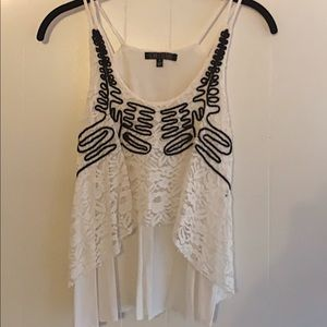 White with black pattern summer top